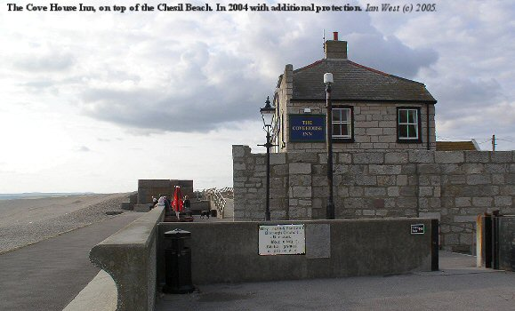 The Cove House Inn, Chesil Beach, Dorset, with additional protection against storm waves, 2004.