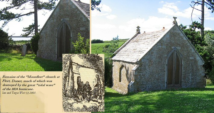 The Moonfleet church at Fleet, ruined by the 1824