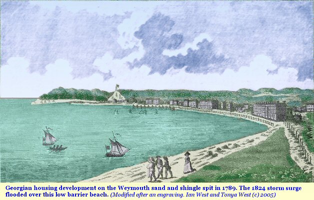 Weymouth Dorset in 1789, with Georgian houses before the 1824 storm surge