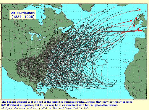 Tracks of hurricanes approaching the English Channel - background information regarding the great storm of 1824