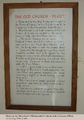 Notice regarding the 1824 hurricane wave in the Moonfleet church  at Fleet, Dorset