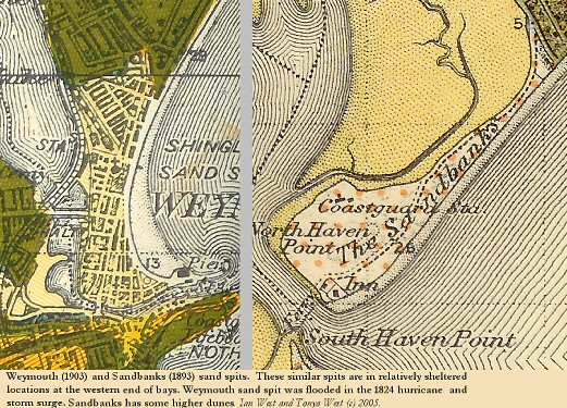 Geological maps showing comparison of the Sandbanks Peninsula and the Weymouth Peninsula, Dorset