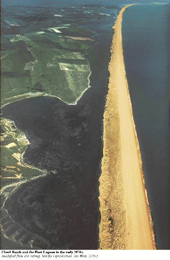 Overview of the  Chesil Beach and Fleet Lagoon from the Abbotsbury end, Dorset