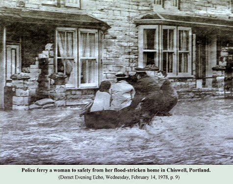 Rescue from floods at Chiswell, Portland, Dorset in February 1978