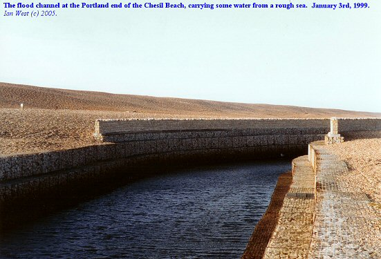 Drainage channel at the Portland end of Chesil Beach, Dorset