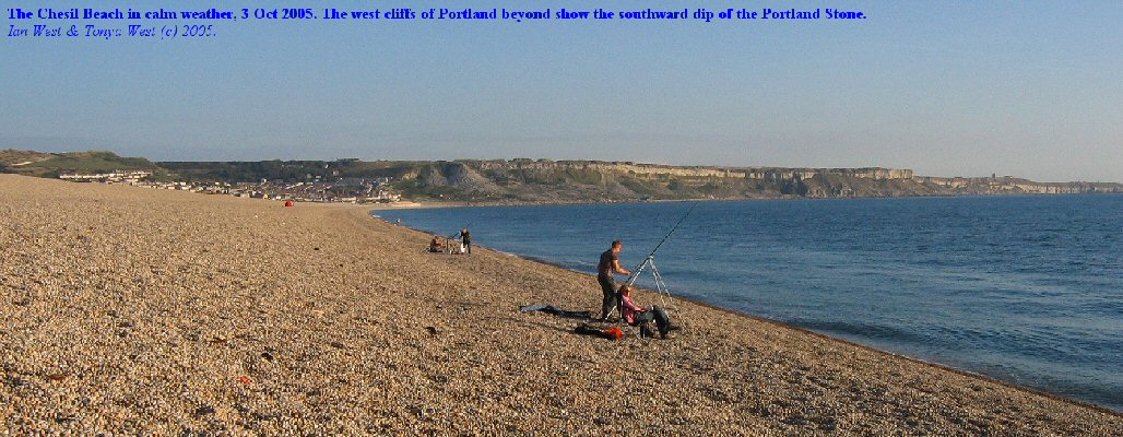 Chesil Beach, Dorset with the cliffs of Portland showing south-dipping Portland Stone