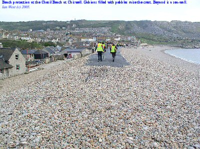 Gabion mattresses at the crest of the Chesil Beach, Chiswell, Dorset