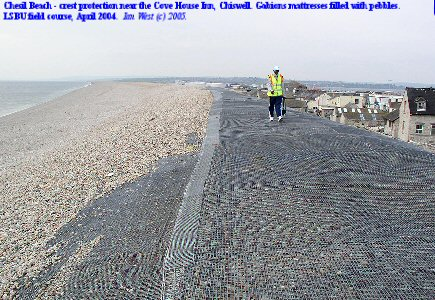 Gabion mattresses containing pebbles, on the beach crest near Chiswell, Chesil Beach, Dorset, April, 2004
