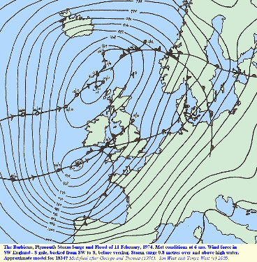 Meteorological conditions at 6 am during the 1974 storm surge in the English Channel