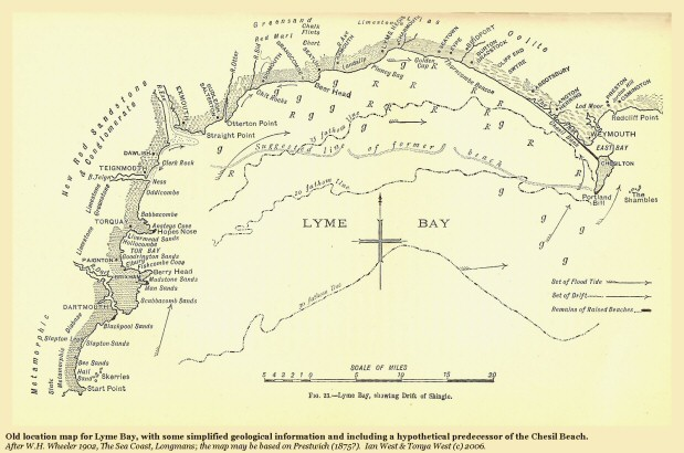 Old map of Lyme Bay, showing a hypothetical predecessor of the Chesil Beach, Dorset, from Wheeler, probably after Prestwich