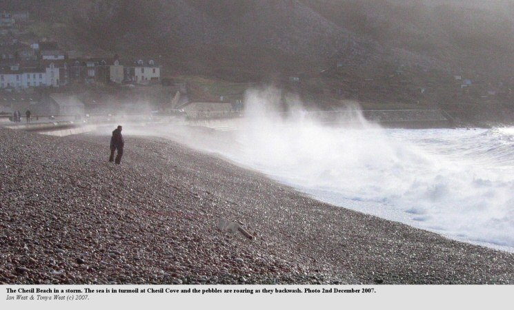 A storm on the Chesil Beach, as seen at Chesil Cove, Dorset, 2nd December 2007
