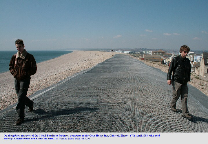 Walking on the gabion mattress of Chesil Beach, at Chiswell, Dorset, 17th April 2008