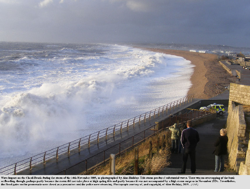 Impact on the Chesil Beach, Dorset, of waves from the storm of 14th November 2009, photo by Alan Holiday