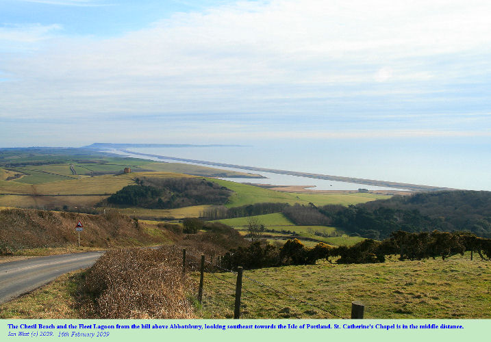 View of the Chesil Beach and Fleet Lagoon from the hill above Abbotsbury, Dorset, 16th February 2009