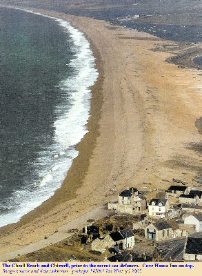 Chesil Beach, Dorset in the 1970(?) before construction of the modern sea-defences. Note Cove House Inn on the top.