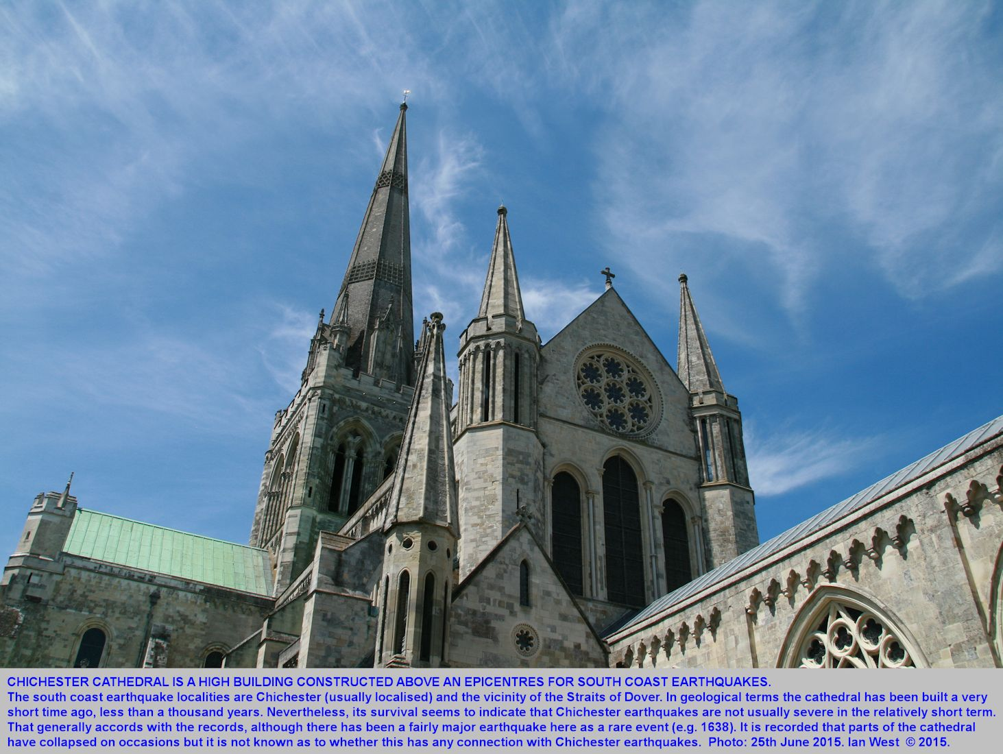 Chichester Cathedral spires, Chichester, Sussex, June 2015