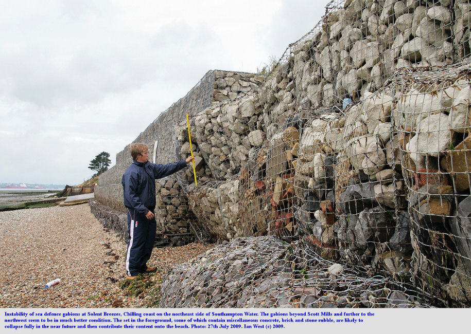 Unstable gabions at Solent Breezes, Chilling, Solent Coast, near Fareham, Hampshire, 27th July 2009