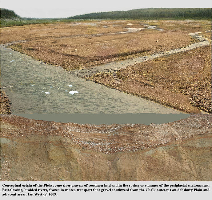 Conceptual reconstruction of a periglacial, braided river environment in which the Pleistocene gravels of southern England were deposited