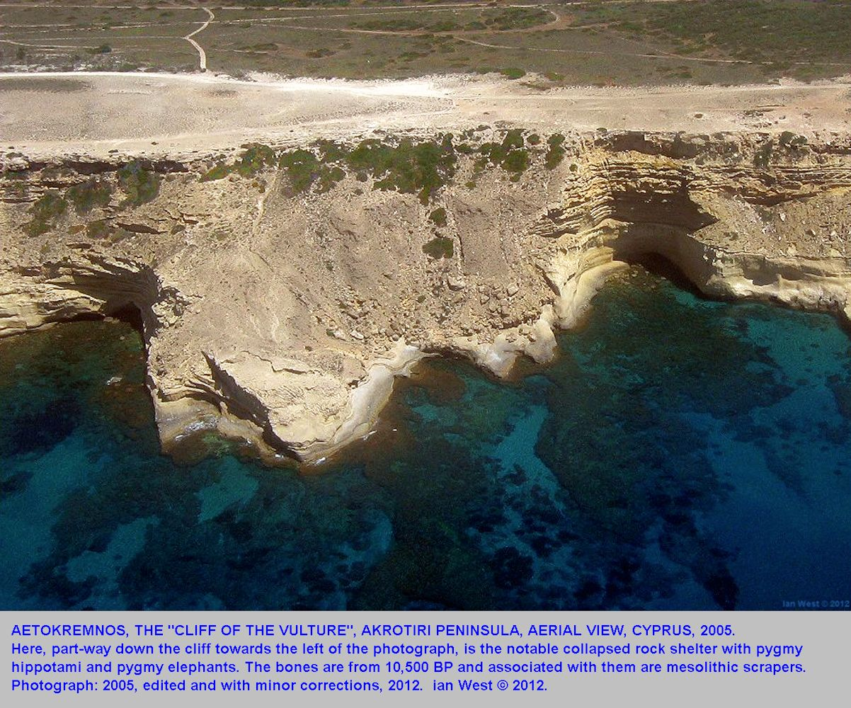 The cliffs at the Aetokremnos archaeological site, Cyprus, 2005, edited version 2012