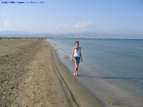 Lady's Mile, a low sand beach and the eastern barrier of the Akrotiri Salt Lake, Cyprus.