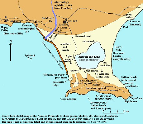 Sketch map of geomorphological features of the Akrotiri Peninsula, near Lemesos, Cyprus