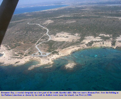 Dreamers Bay from the air, showing fold structures in the Pakhna Limestone, south cliffs of Akrotiri Peninsula, Cyprus