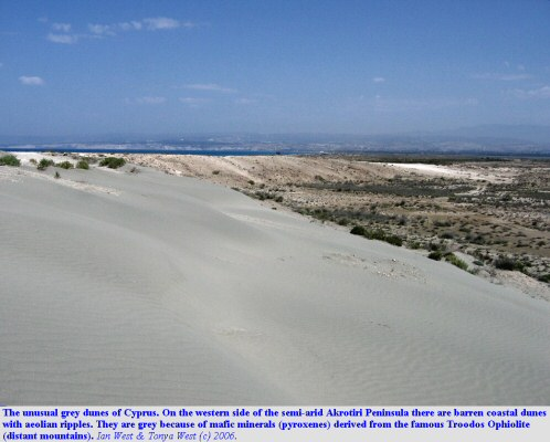 Grey coastal dunes on the west side of the Akrotiri Peninsula, Cyprus