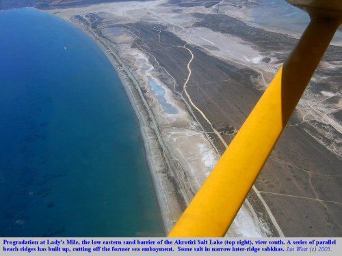 Progradation at Lady's Mile, the low eastern barrier of the Akrotiri Salt Lake, Cyprus.