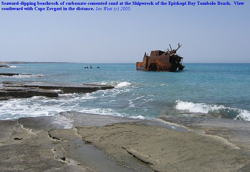 Beachrock at the Shipwreck on the Episkopi Bay Tombolo Beach, Akrotiri, near Lemosos (Limassol), southern Cyprus.