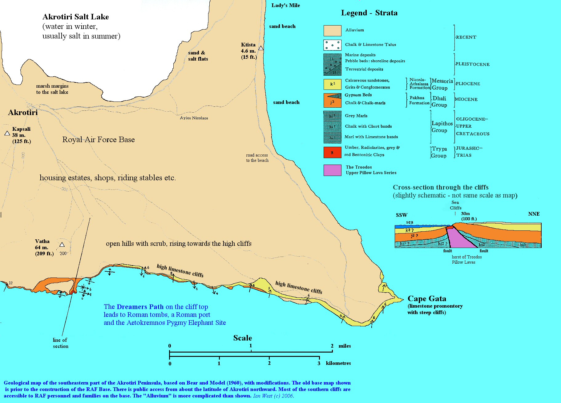 Cyprus salt lake and coast of a southern peninsula geological geological map of the southeastern part of the akrotiri peninsula cyprus pooptronica