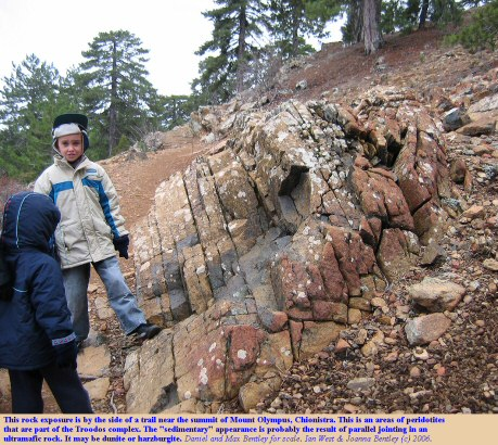 This exposure on a trail near the summit of Mount Olympus or Chionistra, Troodos Mountains, Cyprus, resembles a sedimentary sequence, but is probably a peridotite, an ultramafic rock