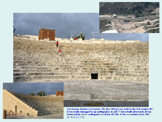 The Roman Theatre at Kourion, Cyprus, reconstructed after earthquake damage