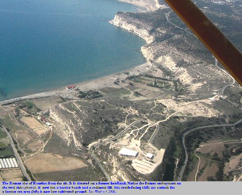 Another view of the Kourion Roman site from the air, north of the Akrotiri Peninsula, Cyprus