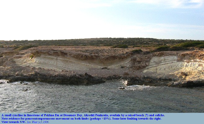 A minor syncline, with penecontemporaneous movement, in Pakhna Limestone at Dreamers Bay, Akrotiri Peninsula, Cyprus