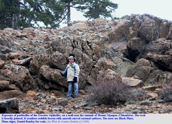 An outcrop of ultramafic rokc of the Troodos Ophiolite on Mount Olympus or Chionistra, Troodos Mountains, Cyprus