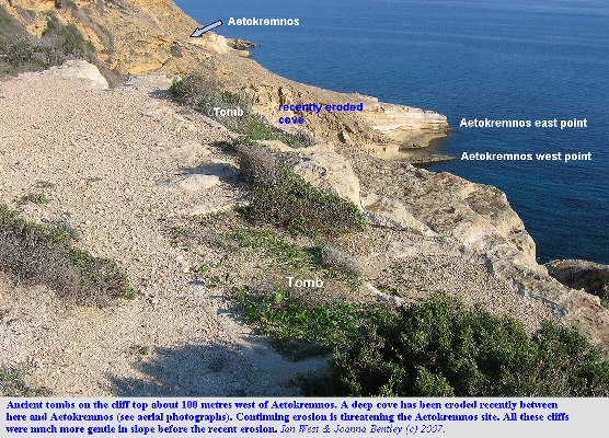 Ancient tombs to the west of Aetokremnos pygmy hippopotamus site, Akrotiri peninsula, Cyprus