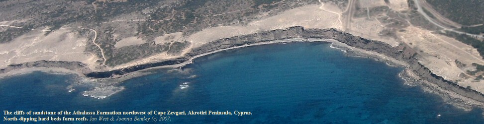 Aerial view of cliffs of sandstone of the Athalassa Formation, near Cape Zevgari, Cyprus