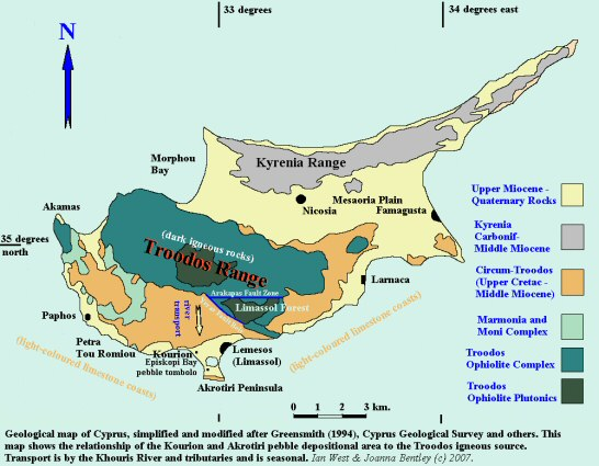 A simplified geological map of Cyprus, showing the relationship of the Troodos Ophiolite area to the pebble depositional area in Episkopi Bay near Akrotiri, Cyprus