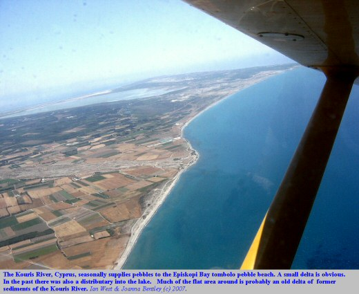 The Kouris River discharges onto the Episkopi Bay tombolo pebble beach, with a small delta, near Akrotiri, Cyprus