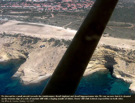 Flying near the Aetokremnos dwarf elephant and dwarf hippotomus site, southern cliffs of the Akrotiri peninsula, Cyprus