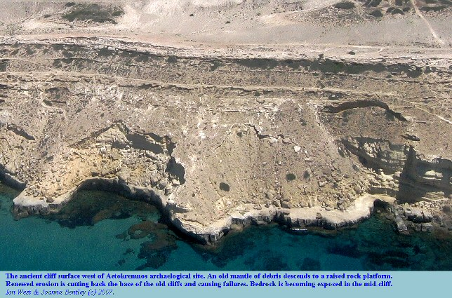 An ancient cliff west of the Aetokremnos archaeological site, undergoing rejunenation and showing failures due to new undercutting, Akrotiri peninsula, Cyprus