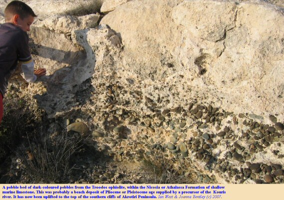 A pebble bed of beach origin in the Nicosia or Athalassa Formation, southern cliffs of the Akrotiri Peninsula, Cyprus