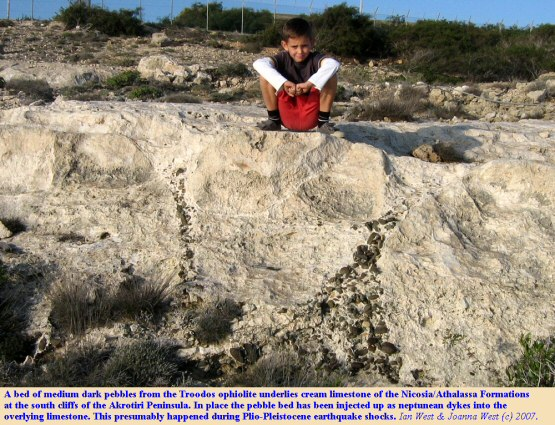 Upward injection of a pebble bed into carbonate sediment, Nicosia or Athalassa Formation, southern cliffs of the Akrotiri Peninsula, Cyprus