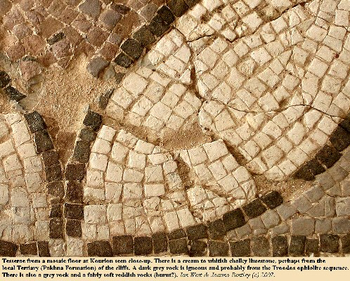 A close-up view of tesserae from a mosaic at Kourion, near Akrotiri, Cyprus