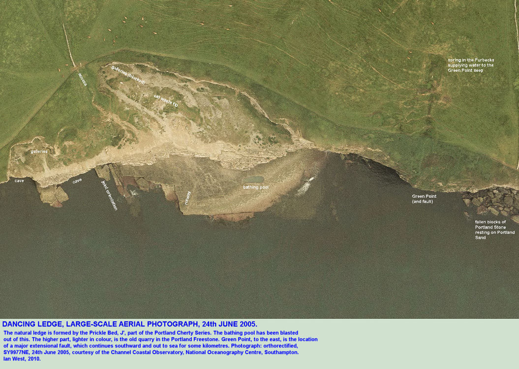 Aerial photograph of Dancing Ledge, Isle of Purbeck, Dorset, courtesy of the Channel Coastal Observatory