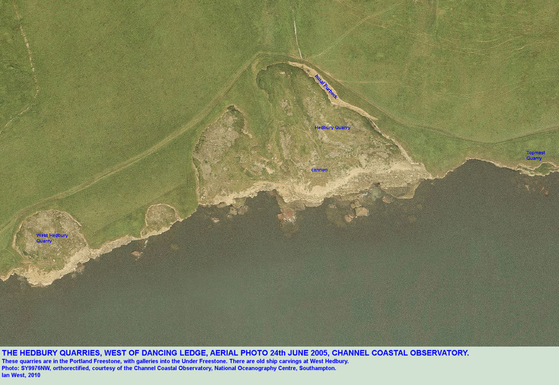 Aerial photograph of Hedbury Quarries, west of Dancing Ledge, Isle of Purbeck, Dorset, courtesy of the Channel Coastal Observatory