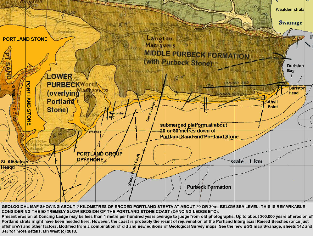 Geological map showing the remarkable extent of erosion of Portland strata offshore from the south of the Isle of Purbeck, including Dancing Ledge, near Swanage, Isle of Purbeck, Dorset