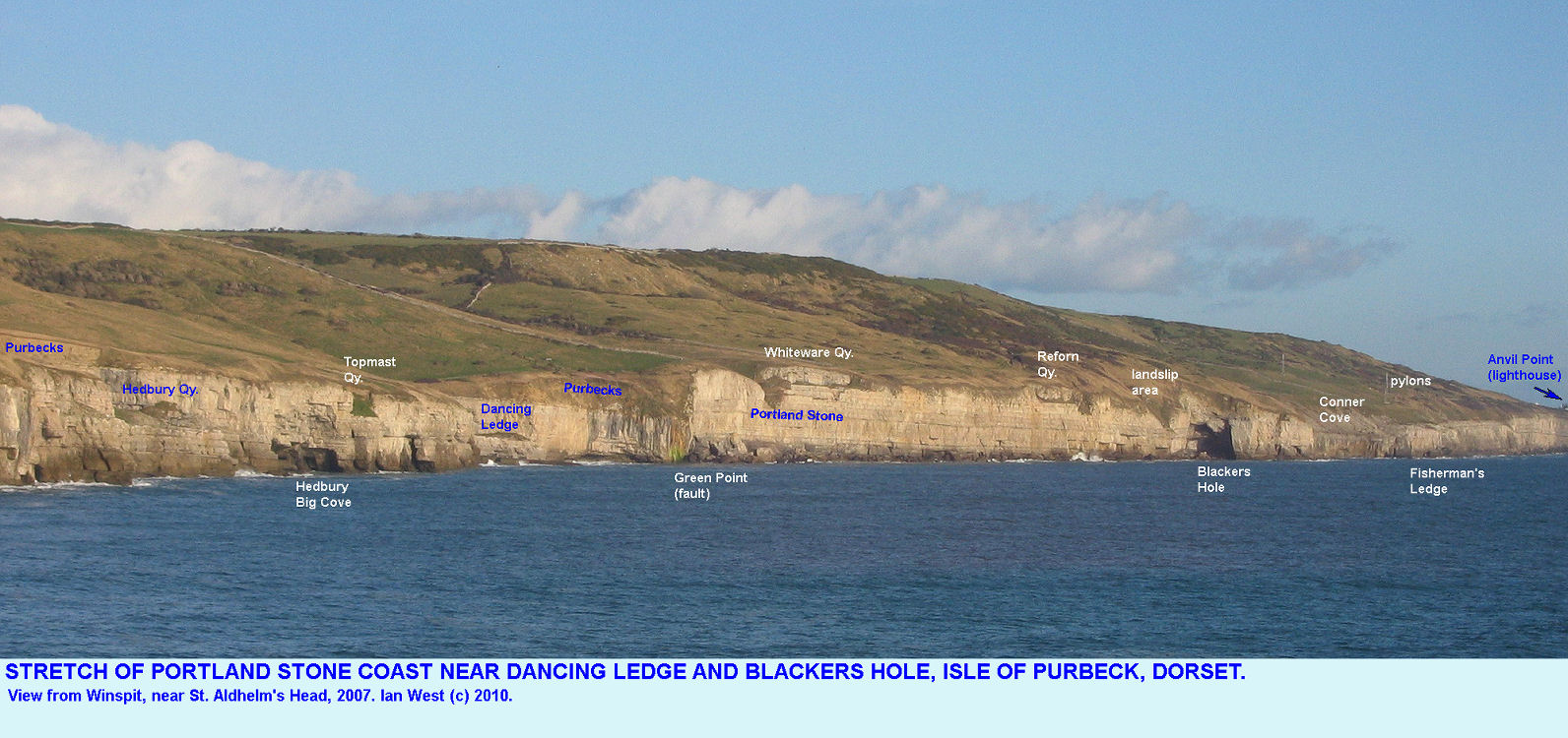 A view of the Portland Stone coast around Dancing Ledge and Blackers Hole, near Swanage, Isle of Purbeck, Dorset, from Winspit in 2007