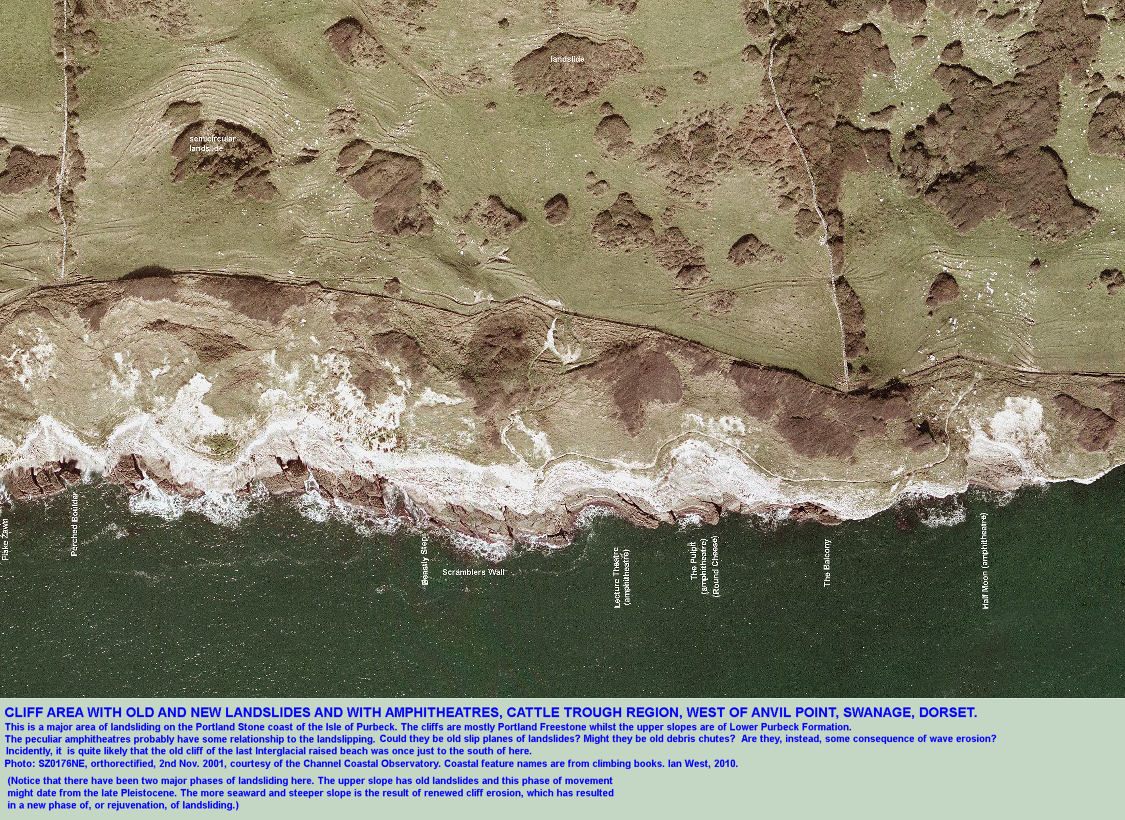 A general view of a rejuvenated landsliding coast of Purbeck marls and limestones above Portland Stone, the Cattle Trough climbing area, west of Anvil Point, Swanage, Dorset, aerial photograph courtesy of the Channel Coastal Observatory