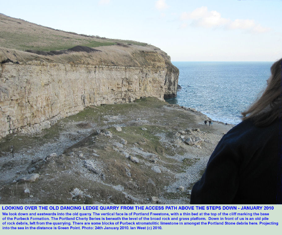 A view over the old quarry of Dancing Ledge, near Swanage, Isle of Purbeck, Dorset, January 2010